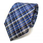 Designer Seidenkrawatte blau kobaltblau silber kariert - Krawatte Seide Tie