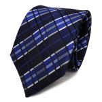 Designer Seidenkrawatte blau marine silber gestreift - Krawatte Seide Tie