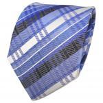 TigerTie Designer Seidenkrawatte blau fernblau silber gestreift - Krawatte Seide
