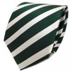 TigerTie Designer Seidenkrawatte grün dunkelgrün silber gestreift - Krawatte