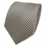 TigerTie Designer Seidenkrawatte silber schwarz gestreift - Krawatte Seide Silk