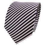 TigerTie Designer Seidenkrawatte silber blau royal gestreift - Krawatte Seide