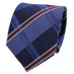TigerTie Designer Seidenkrawatte blau rot silber gestreift - Krawatte Seide