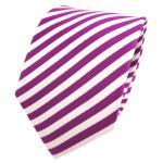 TigerTie Designer Seidenkrawatte magenta fuchsia weiß gestreift - Krawatte Seide