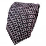 TigerTie Lurex Seidenkrawatte silber rot schwarz kariert - Krawatte Seide Silk