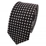 Schmale Designer Seidenkrawatte schwarz silber gepunktet- Krawatte Seide Silk