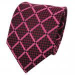 TigerTie Designer Seidenkrawatte rot rosé schwarz kariert - Krawatte Seide
