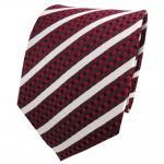 TigerTie Designer Seidenkrawatte rot silber schwarz gestreift - Krawatte Seide