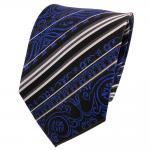 TigerTie Designer Seidenkrawatte blau schwarz silber gestreift - Krawatte Seide
