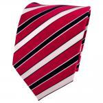Designer Seidenkrawatte rot knallrot blau weiß gestreift - Krawatte Seide