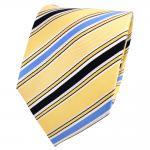Designer Seidenkrawatte gelb blau dunkelblau weiß gestreift - Krawatte Seide