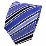 Designer Seidenkrawatte blau dunkelblau marine weiß gestreift - Krawatte Seide
