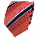 TigerTie Seidenkrawatte orange rotorange blau weiß gestreift - Krawatte Seide