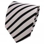 TigerTie Seidenkrawatte silber schwarz gestreift - Krawatte Seide Binder Tie