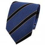 TigerTie Seidenkrawatte blau grau anthrazit schwarz gestreift - Krawatte Seide