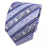 TigerTie Seidenkrawatte blau hellblau schwarz silber gestreift - Krawatte Seide