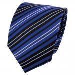 Satin Seidenkrawatte blau kobaltblau schwarz silber gestreift - Krawatte Seide