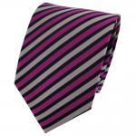 TigerTie Seidenkrawatte magenta silber schwarz gestreift - Krawatte Seide Binder