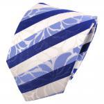 TigerTie Seidenkrawatte blau signalblau fernblau weiß gestreift - Krawatte Seide