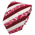 TigerTie Seidenkrawatte rot erdbeerrot rosé weiß gestreift - Krawatte Seide Tie