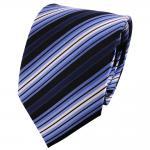 TigerTie Seidenkrawatte blau schwarz silber gestreift - Krawatte Seide Tie