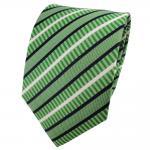 TigerTie Seidenkrawatte grün hellgrün blau weiß gestreift - Krawatte 100% Seide