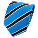 TigerTie Seidenkrawatte capriblau schwarz silber gestreift - Krawatte 100% Seide