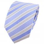 TigerTie Seidenkrawatte blau hellblau silber schwarz gestreift - Krawatte Seide