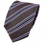 TigerTie Seidenkrawatte anthrazit schwarz blau silber gestreift - Krawatte Seide