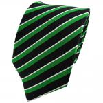 TigerTie Seidenkrawatte grün schwarz silber gestreift - Krawatte Seide Binder