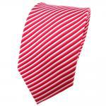 TigerTie Seidenkrawatte rot erdbeerrot rosé silber gestreift - Krawatte Seide