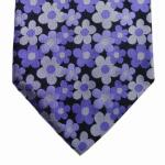 Mexx Seidenkrawatte blau lila schwarz geblümt - Krawatte Tie 100 % Seide