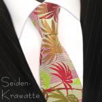 MEXX Krawatte Rot Grün Braun mit Blättermotiv, Seide