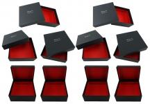TigerTie - 10 Stk. Geschenkbox - Aufbewahrungsbox in schwarz, innen rot