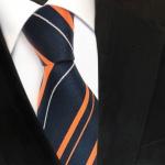TigerTie Designer Seidenkrawatte orange blau royal silber gestreift - Krawatte