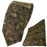 TigerTie Krawatte + Einstecktuch in braun gold blau schwarz Paisley