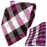 TigerTie Designer Krawatte + Einstecktuch pink grau silber schwarz gestreift