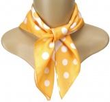 TigerTie Seiden Nickituch in orange weiss gepunktet - 50 x 50 cm - 100% Seide