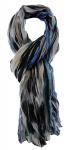 TigerTie - Chiffon Designer Schal in blau schwarz grau grün gestreift