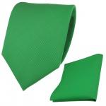 Designer TigerTie Krawatte + Einstecktuch grün knallgrün leuchtgrün Uni Rips