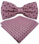 TigerTie Designer Seidenfliege + Einstecktuch Seide in altrosa rosa schwarz gepunktet