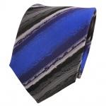 TigerTie Designer Seidenkrawatte blau grau schwarz gestreift- Krawatte Seide