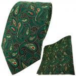 TigerTie Krawatte + Einstecktuch in grün gold schwarz rot Paisley