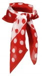 TigerTie Seiden Chiffon Nickituch in rot weiss gepunktet - Größe 50 x 50 cm