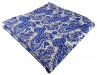 TigerTie Designer Einstecktuch in blau silber Paisley gemustert - Gr. 30 x 30 cm