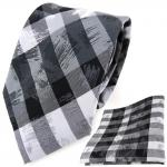 TigerTie Designer Krawatte + Einstecktuch grau silber schwarz gestreift
