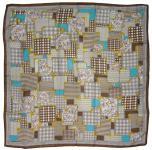 Halstuch in braun gold grau türkis gemustert - Schalgröße 100 x 100 cm