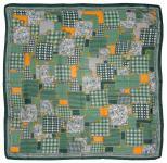 Designer Halstuch in grün orange gold grau gemustert - Gr. 100 x 100 cm