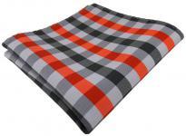 Elegantes Einstecktuch in orange grau kariert - Tuch Polyester