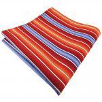 schönes Einstecktuch in orange rotorange dunkelorange blau creme gestreift